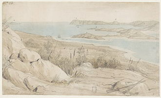 King George Sound (Western Australia) - King George's Sound, view from the north-west, pencil and wash by William Westall in 1801