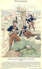 Print showing dark blue-coated Prussian grenadiers skirmishing