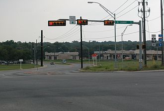 Texas State Highway Spur 69 - Koenig Lane (Spur 69) heading east from Lamar Boulevard. Note that the road is signed as RM 2222.