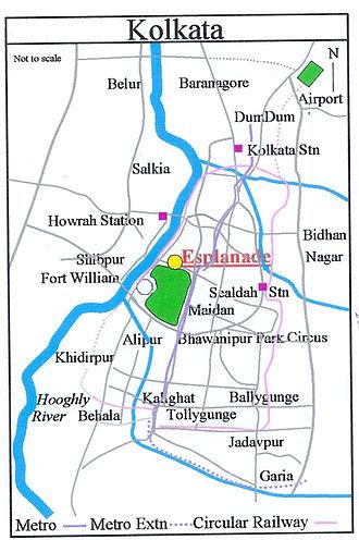 Esplanade, Kolkata - Image: Kolkata Esplanade Map