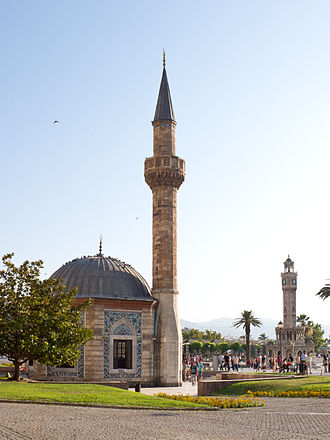 Yalı Mosque - The Mosque with the İzmir Clock Tower in the background