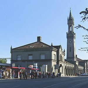 Grand Duchy of Baden State Railway - Konstanz station still has today a slim clock tower typical of former Baden stations.
