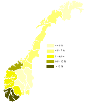 Christian Democratic Party (Norway) - Support for KrF in the counties of Norway at the Norwegian parliamentary elections of 2005.