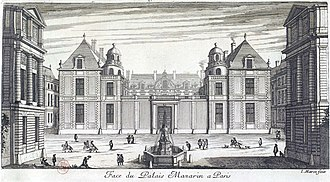 Hôtel Tubeuf - Street front of the Hôtel Tubeuf in the 17th century, engraving by Jean Marot (Grand Marot, 1686)