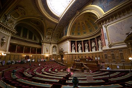 The French Senate, hosted in the Palais du Luxembourg L'hemicycle du Senat francais en septembre 2009.jpg