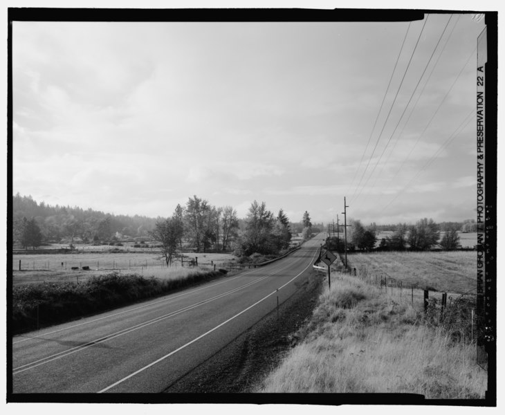 File:LANDSCAPE HIGHWAY VIEW, OREGON STATE HIGHWAY 199. JOSPHINE COUNTY, OREGON. REEVES CREEK (WHERE ROAD WIDENS) 4 MILES NE OF CAVE JUNCTION. LOOKING S. - Redwood National and State Parks HAER CA-269-38.tif