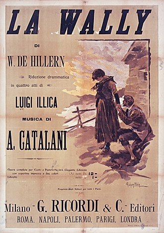 La Wally - Cover of the vocal score published by Ricordi