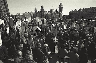 Incomes policy - Demonstration against wage controls during World War II on Parliament Hill in Ottawa, Ontario