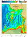 Lake Superior bathymetry map, deepest point, trenches 2.png