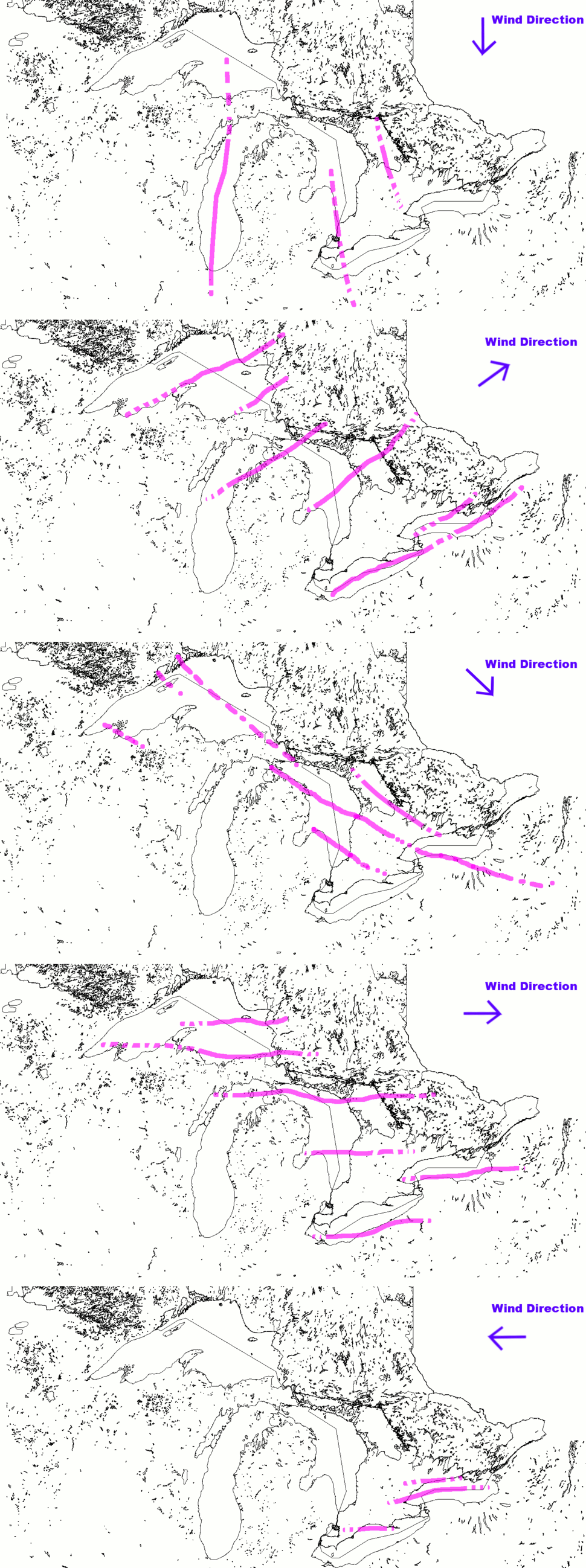 Lake effect snow wind direction bands1