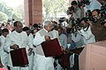 Lalu Prasad alongwith the Minister of State for Railways, Shri Naranbhai J. Rathwa and the Minister of State for Railways, Shri R. Velu arriving at Parliament House for the presentation of Railway Budget for the year 2008-09.jpg
