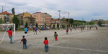 Soccer football match near La Chopera - Txopoe...