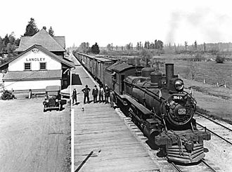 Langley, British Columbia (district municipality) - C.N.R. Locomotive at the Langley Railway Station, 1924