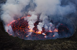 Molten lava contained in a volcanic crater