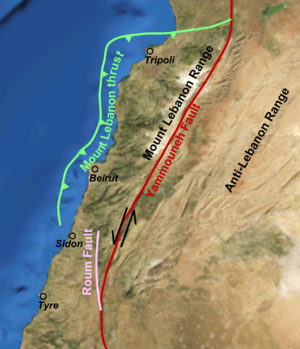 847 Damascus earthquake - The Dead Sea Transform fault and associated structures in Lebanon and southern Syria