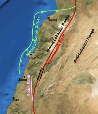 Galilee earthquake of 1837 - The Yammouneh fault in Lebanon