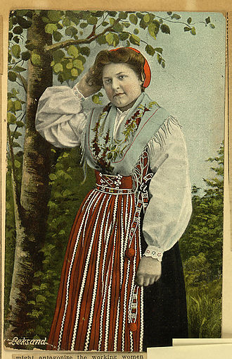 Dalarna - A Daleswoman from Leksand in traditional folk dress, 1911.