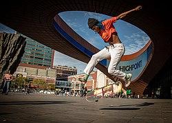 Lenna skates in front of the Barclays Center - Brooklyn, NY.jpg