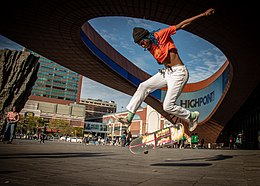 Lenna skates in front of the Barclays Center - Brooklyn, NY.jpg