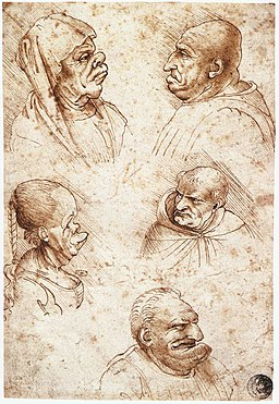 Leonardo da vinci, Five caricature heads