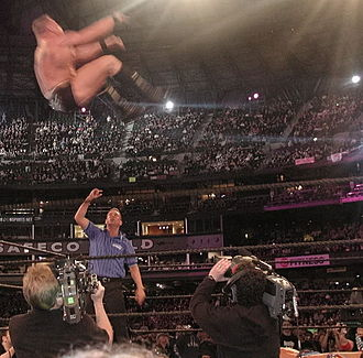 Brock Lesnar - Lesnar attempting a shooting star press at WrestleMania XIX