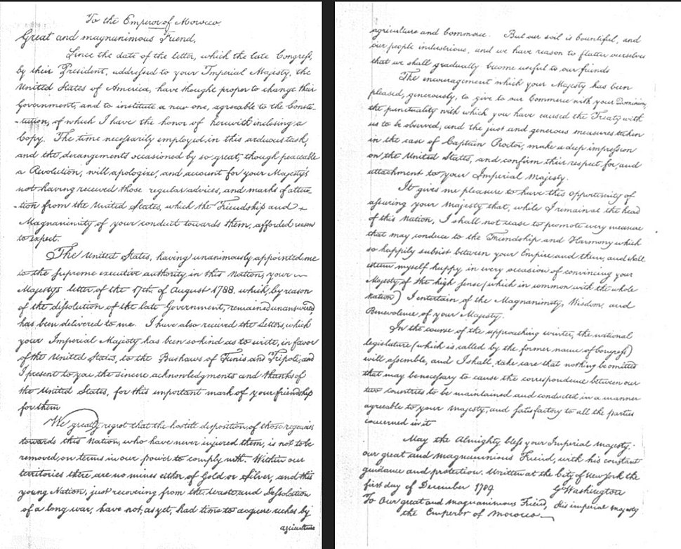 Letter of George Washington to Mohammed ben Abdallah in appreciation of the signature of the Treaty of Peace and Friendship signed in Marrakech in 1787
