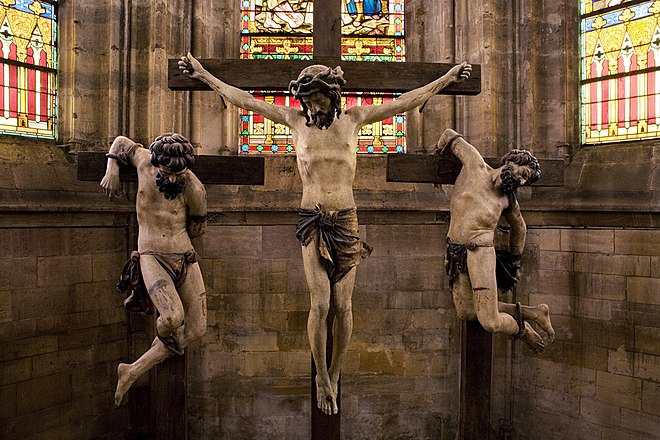 Christ and the two robbers being crucified in St Etienne's church in Bar-le-Duc. Photograph courtesy of Clement Guillaume Ligier Richier Calvary.jpg