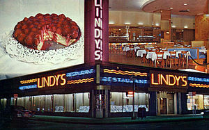 Lindy's - The Lindy's location at Broadway and 51st Street; a look at the interior and the famous Lindy's cheesecake.