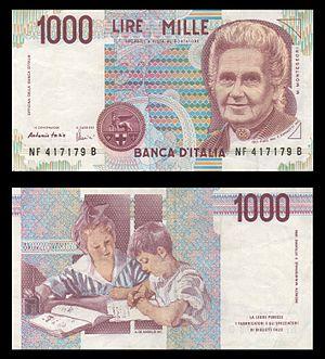 Maria Montessori - Italian 1000 Lire banknote (approx. 0.52 €) representing Maria Montessori.