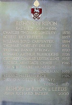 Bishop of Ripon - List inside Ripon Cathedral