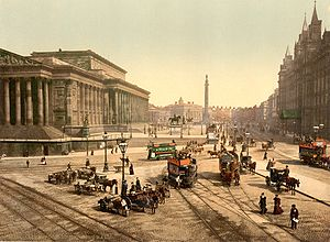 Liverpool - Lime Street, Liverpool, in the 1890s, St.George's Hall to the left, Great North Western Hotel to the right, Walker Art Gallery and Sessions House in the background. Statues of Prince Albert, Disraeli, Queen Victoria and Wellington's Column in the middle ground.