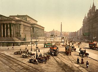Lime Street, Liverpool - Lime Street in the 1890s, with St. George's Hall on the left and the Great North Western Hotel on the right. Wellington's column is visible in the distance.