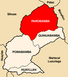 Location of Parobamba in the Pomabamba province