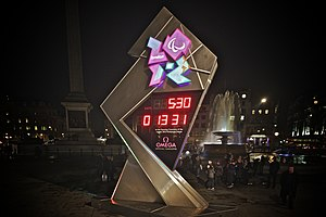 2012 Summer Paralympics - A digital clock in Trafalgar Square, counting down to the opening ceremony of the 2012 Summer Paralympics