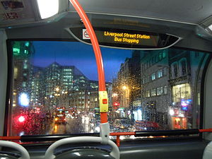 IBus (London) - An iBus display on a London bus, announcing that the vehicle is stopping at Liverpool Street Station.
