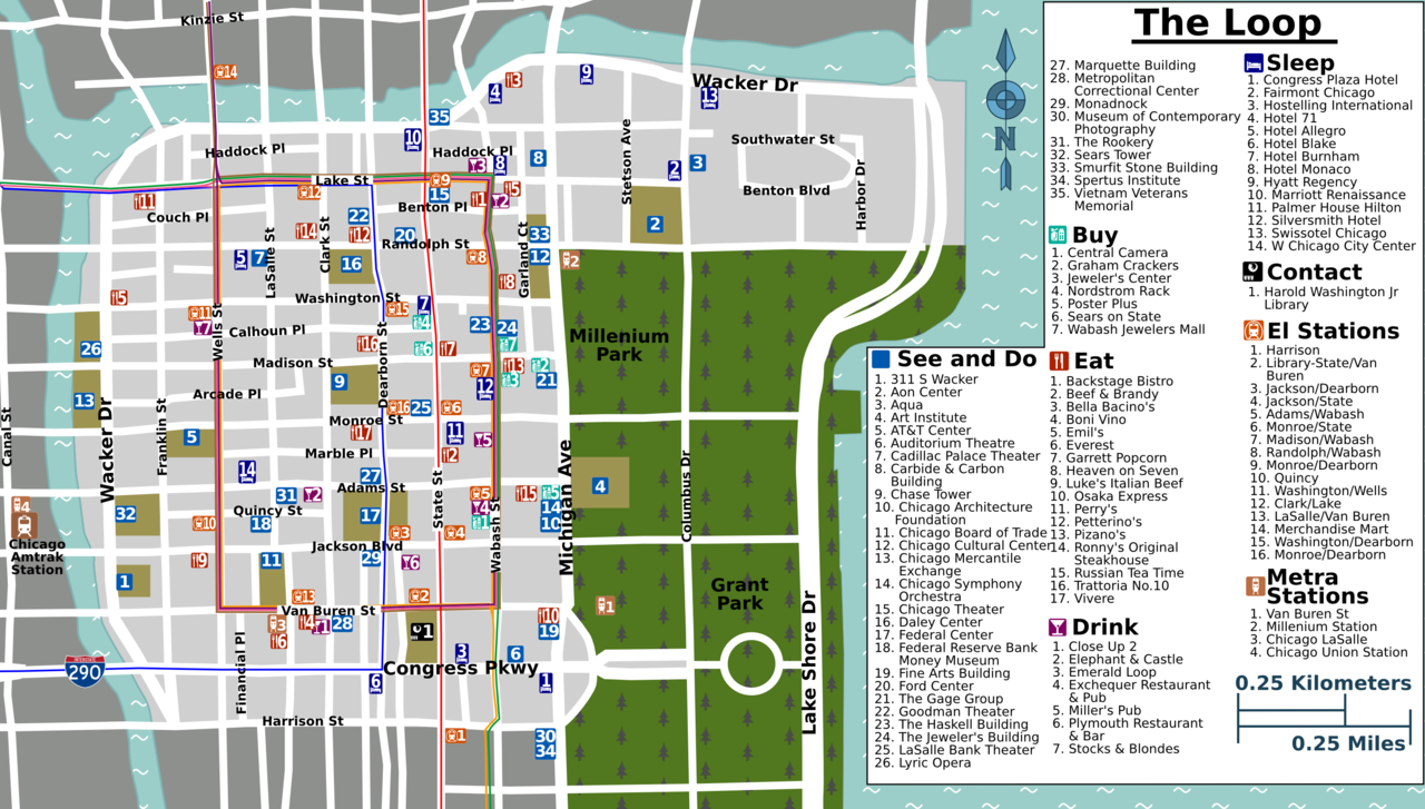 Wrigley Field Map Tourist Map Los Angeles Map Of South America In