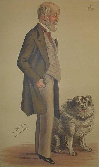 """Alan Gardner, 3rd Baron Gardner - """"Fox hunting""""Lord Gardner as caricatured by Spy (Leslie Ward) in Vanity Fair, July 1883"""