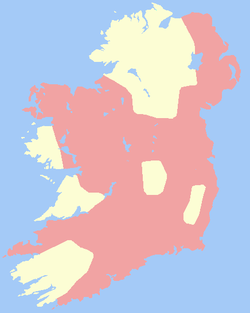 The Lordship of Ireland (pink) in 1300.