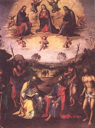 San Giovanni in Monte, Bologna - Image: Lorenzo Costa Crowning of the Madonna and saints