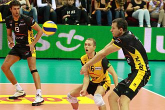 PGE Skra Bełchatów - Winiarski, Zatorski and Kurek during the match with Lotos Trefl Gdańsk on September 30, 2011, Ergo Arena, Gdańsk.