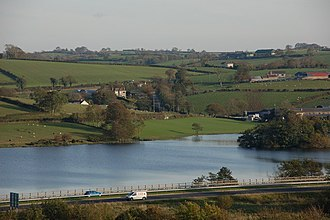 Loughbrickland - Loughbrickland Lake and the A1 road (Northern Ireland)