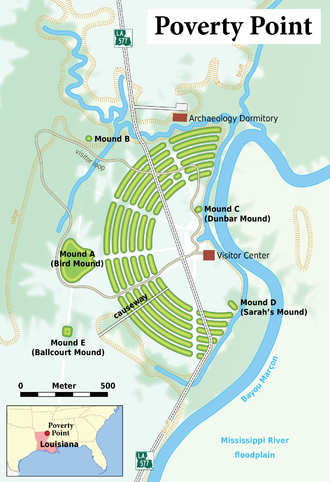 Poverty Point - A map of the Poverty Point site
