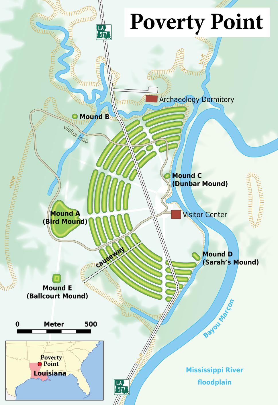 Louisiana - Poverty Point - Karte (English version)