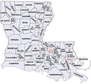 National Register of Historic Places listings in Louisiana - Map of Louisiana's 64 parishes