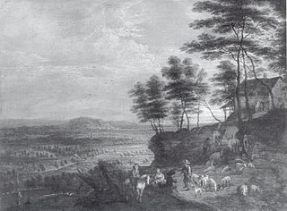 Landscape with Herd of Cattle before a Panoramic View