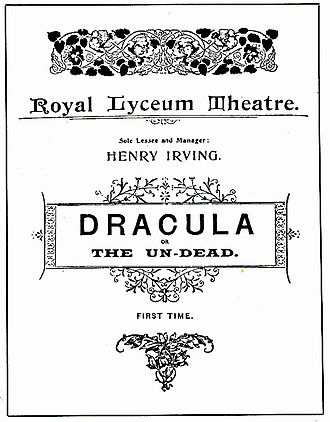 Dracula in popular culture - Program for the 1897 Lyceum Theatre stage production of Bram Stoker's Dracula, or The Undead