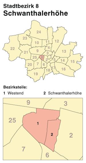 Schwanthalerhöhe - District map