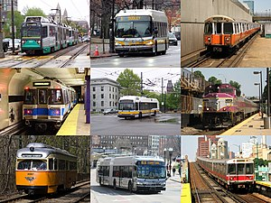 Massachusetts Bay Transportation Authority - The MBTA provides services in five different modes (boat not pictured) around Greater Boston.
