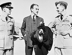 Peter Drummond (RAF officer) - Air Vice Marshal Drummond (left) with British Minister of State of the Middle East Richard Casey (centre) and Air Marshal Sir Arthur Tedder (right) in May 1942