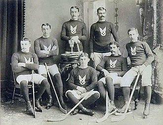 Montreal Hockey Club - Montreal Hockey Club, 1888 Front Row: G.S. Lowe, A.A. Hodgson, J. Virtue, A. Cameron, T.L. Paton Back Row: W.C. Hodgson, J. Stewart